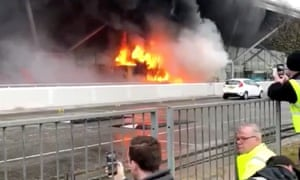 Bus burning outside Stansted terminal