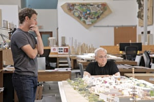 Facebook founder Mark Zuckerberg with architect Frank Gehry discuss models of Facebook's Menlo Park campus