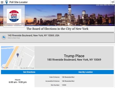 The polling site for some Manhattan residents: Trump Place.