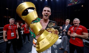 Callum Smith shows off the Muhammad Ali Trophy