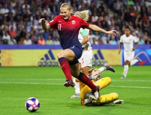Norway's Lisa-Marie Utland goes past England's goalkeeper Karen Bardsley.