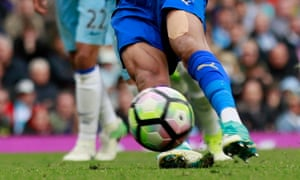 Leicester City's Riyad Mahrez slips over and sees his converted penalty disallowed for a double hit at Manchester City.