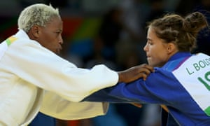 Judo - Women -70 kg Elimination Rounds2016 Rio Olympics - Judo - Preliminary - Women -70 kg Elimination Rounds - Carioca Arena 2 - Rio de Janeiro, Brazil - 10/08/2016. Yolande Bukasa Mabika (ROT) of Refugee Olympic Athletes and Linda Bolder (ISR) of Israel compete. REUTERS/Toru Hanai FOR EDITORIAL USE ONLY. NOT FOR SALE FOR MARKETING OR ADVERTISING CAMPAIGNS.