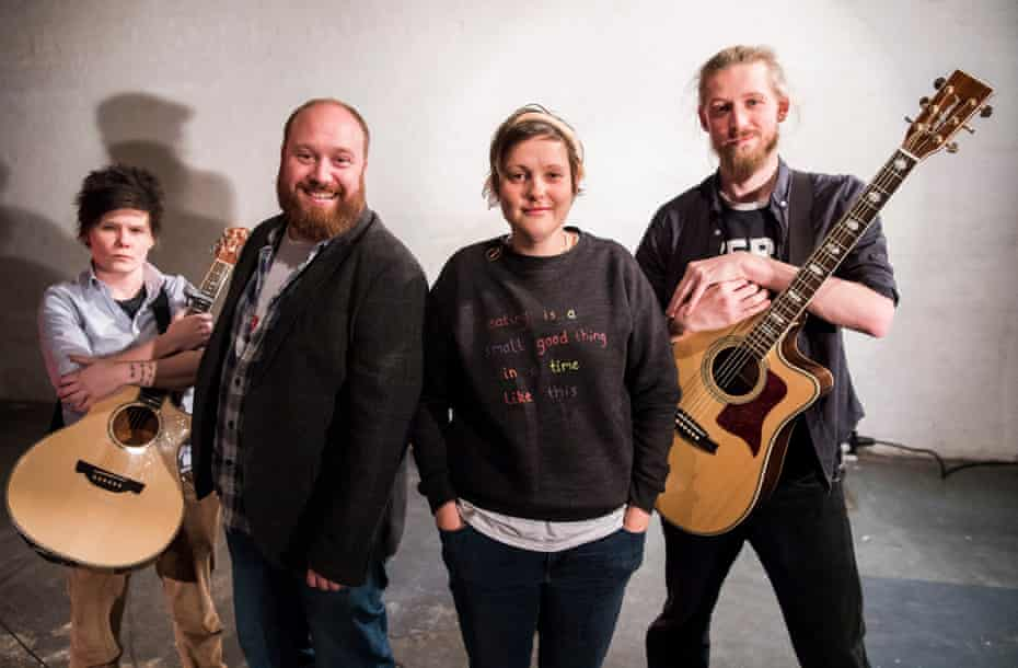 Lefty Scum … Donahoe and Long on tour with, left, Grace Petrie and, right, Paddy Gervers of Jonny and the Baptists.