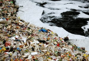 Waste collects in a bend on Indonesia's Citarum River