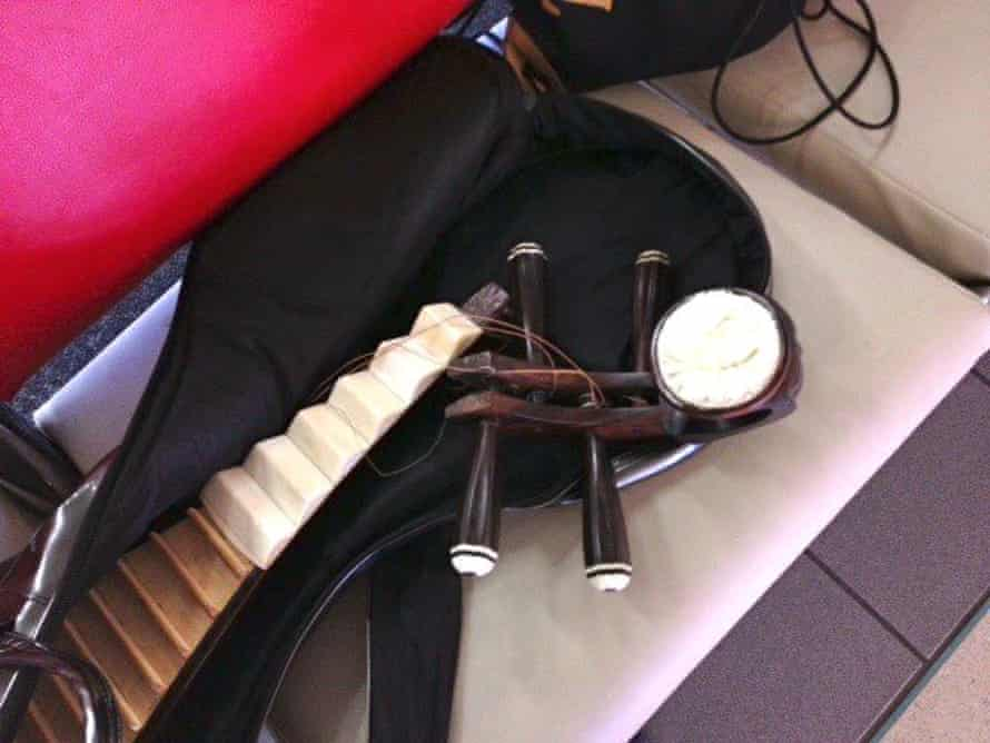 Wu Man's broken pipa, in an image shared on Facebook by the Kronos Quartet.