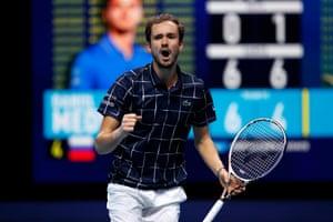 Daniil Medvedev celebrates winning the second set.