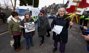 Sheffield residents protest against the felling of trees