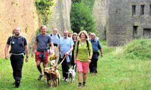 Walkers, and dog,  atThe White Cliffs Walking Festival, Kent, UK.