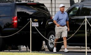 Senator Lindsey Graham leaves the White House for a round of golf with Donald Trump at the Trump National Golf Club in Sterling, Virginia, in July.