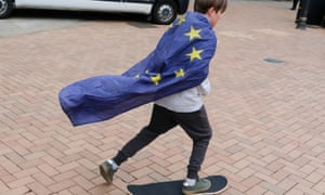 A young remainer skateboards during a second referendum rally in Birmingham on the first day of the Conservative party conference