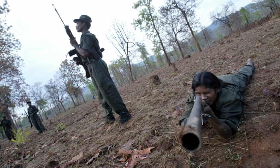 Maoist Naxalite revolutionaries exercise in the central Indian state of Chattisgarh.