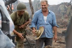 Mel Gibson on the set of Hacksaw Ridge.