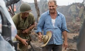 Mel Gibson on the set of Hacksaw Ridge