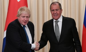 Boris Johnson and Sergei Lavrov in Moscow