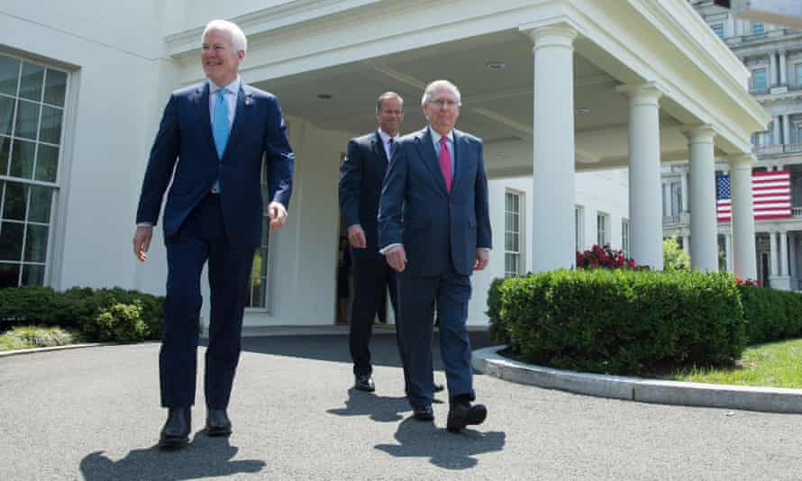 Mitch McConnell, John Cornyn and John Thune at the White House in Washington Wednesday.