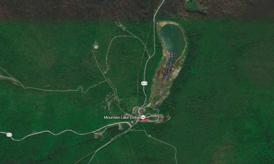 This Google satellite view of Mountain Lake shows how far it has receded over time