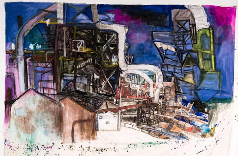 Industrial tendrils … A Meteor Fell from the Sky (2018) by Anna Boghiguian.