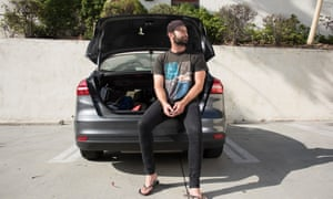 Dante, 28, found himself homeless. So he put his stuff in a small storage locker, and sleeps in the car he rents from Enterprise to drive for Uber.