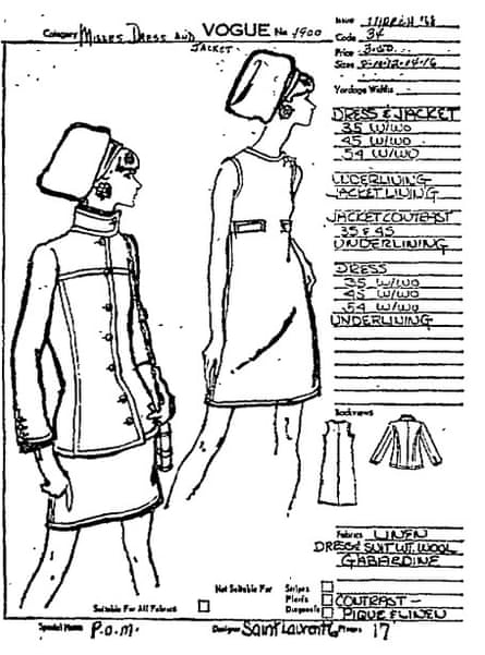 Illustration from the Vogue pattern book published in the Guardian, 18 January 1968.