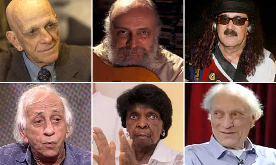 Deceased Brazilian cultural luminaries (clockwise from top left) Rubem Fonseca, Aldir Blanc, Moraes Moreira, Luiz Alfredo Garcia-Roza, Dona Neném and Flávio Migliaccio.