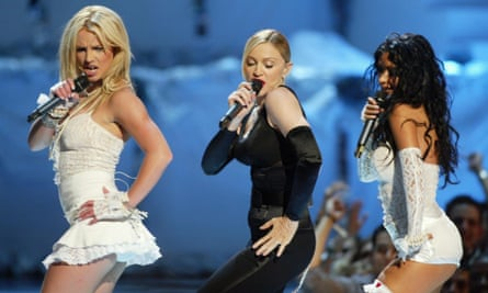 Britney Spears, Madonna and Christina Aguilera during the 2003 MTV Video Music Awards.