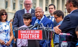 John Lewis holding a press conference in Washington in 2018 to demand that the Trump administration end its policy of separating the families of immigrants detained on their arrival in the US.