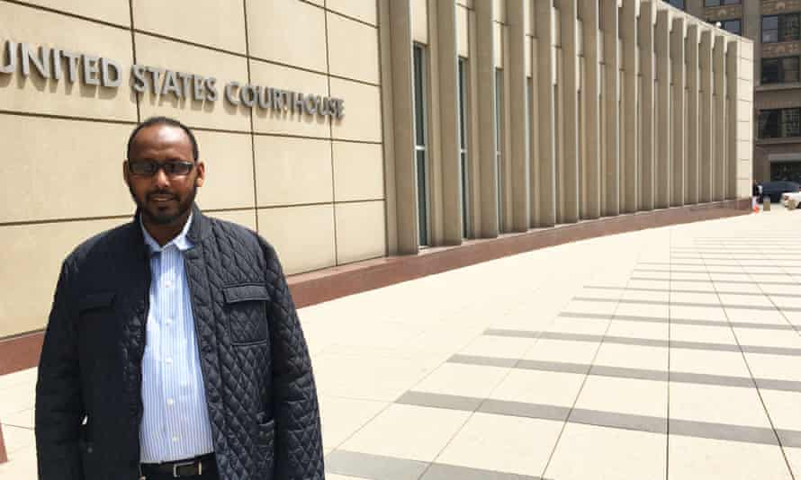 Abdihamid Farah Yusuf stands outside courthouse in Minneapolis.