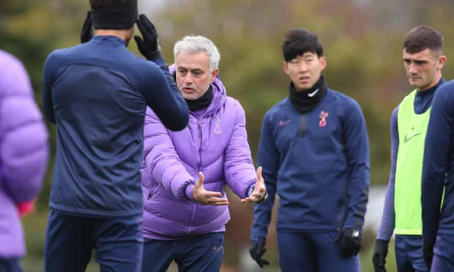 José Mourinho leads Spurs training. Daniel Levy, the chairman, has called on Premier League managers and players to accept lower pay during the coronavirus crisis.
