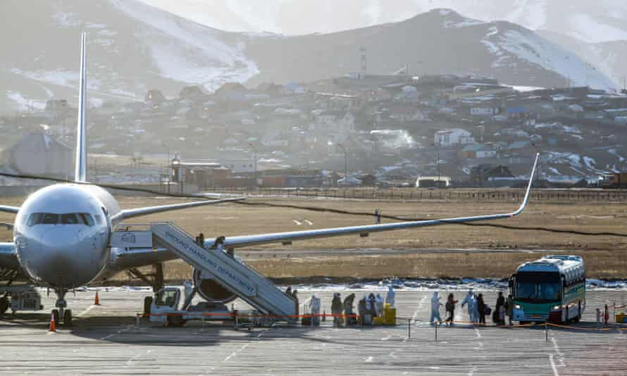 Passengers arrive at Chinggis Khaan International Airport in Ulaanbaatar, the capital of Mongolia, in March.