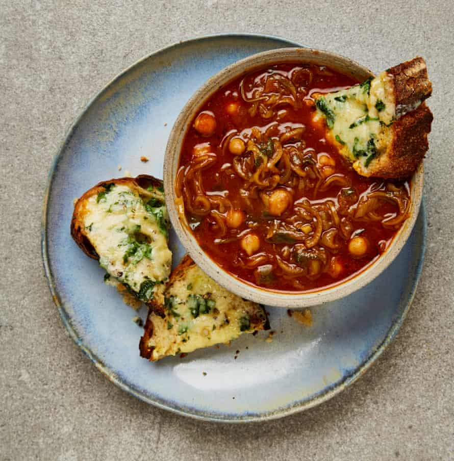 Yotam Ottolenghi's hawaij, onion and chickpea soup with cheesy bread