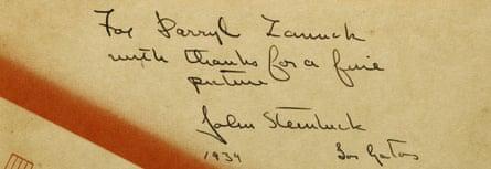 John Steinbeck expresses his gratitude to legendary Hollywood producer Darryl F Zanuck
