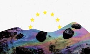 EU stars over landscape