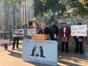 Arizona state representative Kelli Butler, center, calls on Ice to grant María's parole on 19 December.