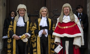 Liz Truss being sworn in as lord high chancellor with Lord Thomas, the lord chief justice (right), and Lord Dyson, the Master of the Rolls, at the Royal Courts of Justice, Strand in July 2016.