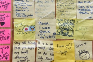 Post-it notes with comments and drawings at the centre