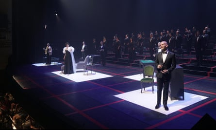 A rehearsal of La Traviata at the Teatro Real in Madrid, with the red grid indicating two metres' distance.