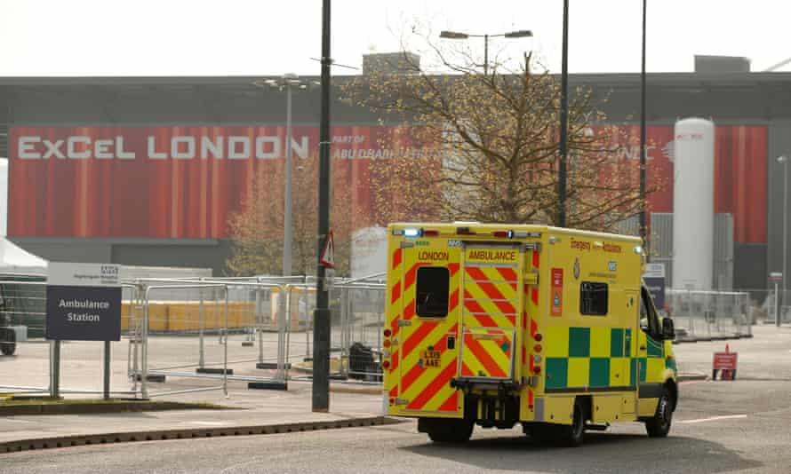 An ambulance is seen outside the NHS Nightingale hospital at the ExCeL centre in east London