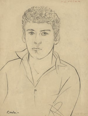 Portrait of Lucian Freud, 1946, by John Craxton, a drawing in Brian Sewell's collection.