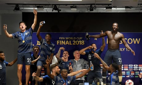 French players invade Didier Deschamps's press conference - video