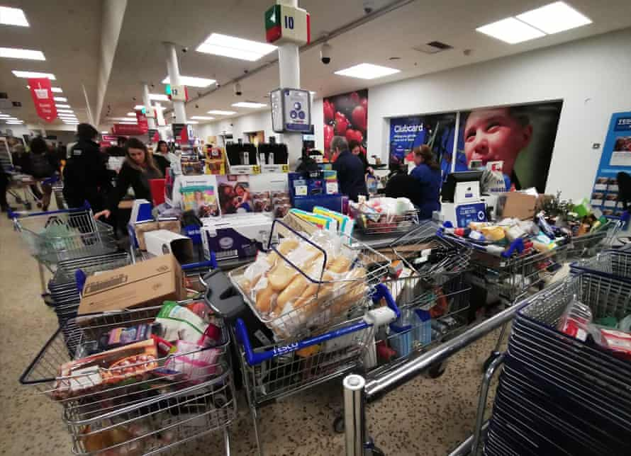 The checkout at Tesco in Guildford 19 March
