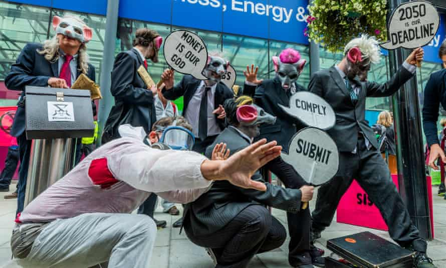 XR protesters outside the Department for Business, Energy and Industrial Strategy in London.