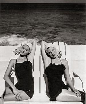 Twins at the Beach, Nassau, 1949