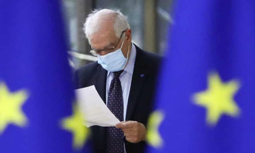 The EU foreign policy chief, Josep Borrell, arrives for a meeting of EU foreign ministers at the European council in Brussels.