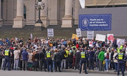 Anti-lockdown protesters in Melbourne in May