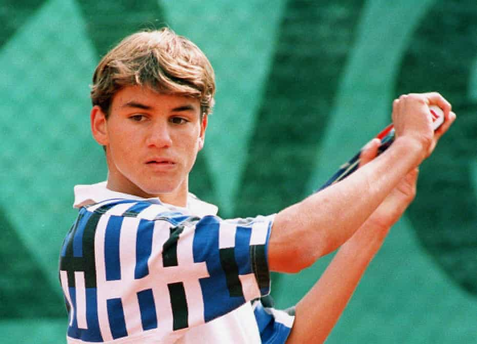 Roger Federer in 1996, aged 15, competing at the World Youth Cup in Zurich.