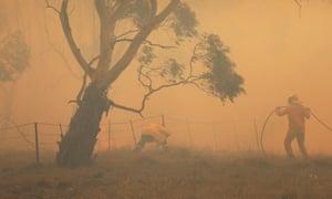 NSW RFS crews extinguish a fire that crossed the Monaro Highway, north of Bredbo, NSW
