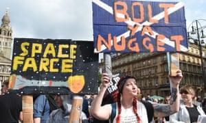 Anti-Trump protesters in George Square, Glasgow