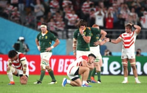 Ryoto Nakamura of Japan reacts following defeat to South Africa.