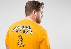 Man wearing T-shirt with design on the back.